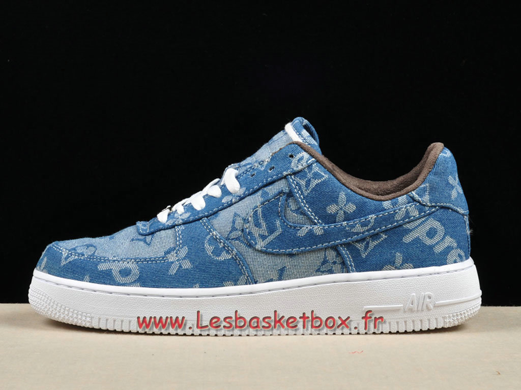 LV x Supreme x Nike Air Force 1 Blue 923089-100 Chaussures Supreme Nike Urh Pour Homme