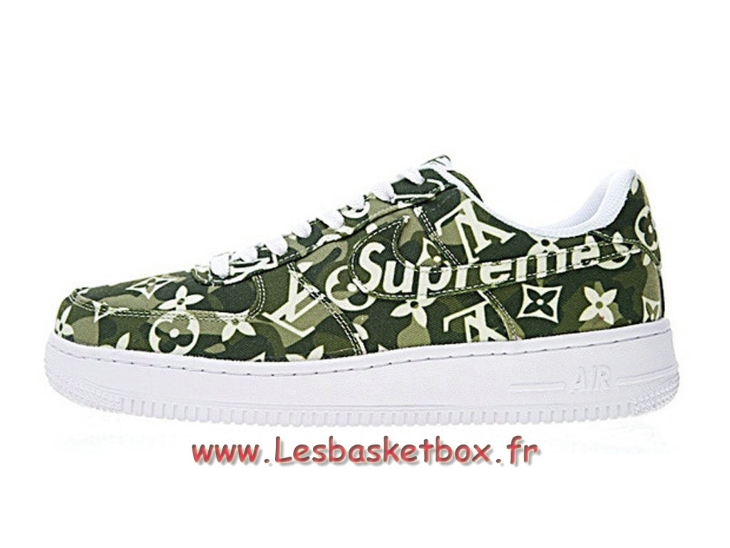 LV x Supreme x Nike Air Force 1 Denim AA5360-300 Chaussures Nike Supreme Prix Pour Homme