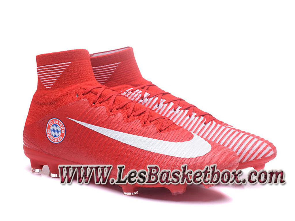 Nike Mercurial Superfly V FG(Bayern) Chaussure de football Officiel Pas cher pour Homme Rouge