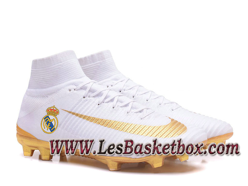 Nike Mercurial Superfly V FG(Real Madrid) Chaussure de football Officiel Pas cher pour Homme Blanc Or