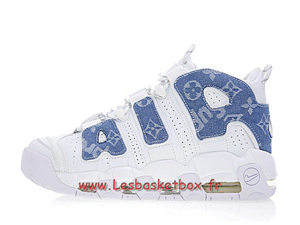 Running LV x Supreme x Nike Air More Uptempo White Blue 921948-100 Chaussures Nike Pas Cher Pour Homme