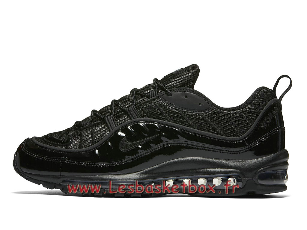 Running Supreme x Nike Air max 98 Black 844694_001 Chaussures NIke Pas cher Pour Homme Noires