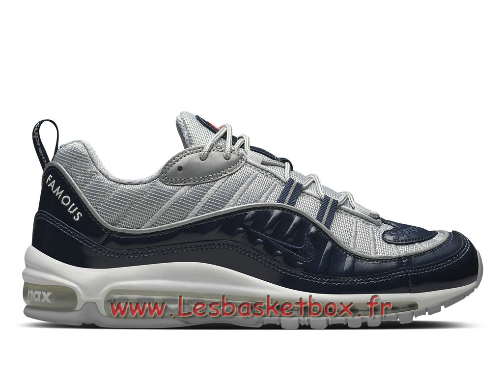 Running Supreme x Nike Air max 98 Navy 844694_400 Chaussures NIke Pas cher Pour Homme Deep Bleu
