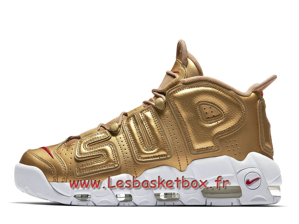 Supreme x Nike Air More Uptempo Metallic Gold 902290_700 Homme nike Basket Pour Or
