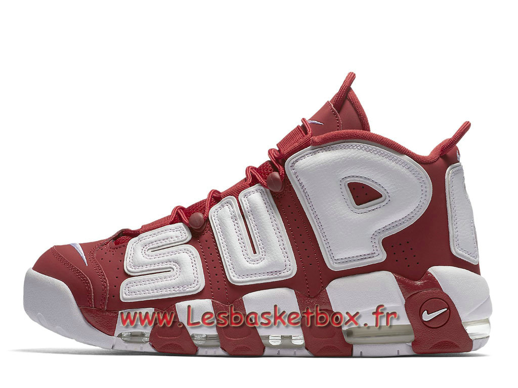 Supreme x Nike Air More Uptempo Red 902290_600 Chausport Officiel 2017 Pour Homme Blanc/Rouge